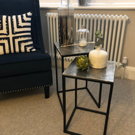 Small metal side table with hammered top