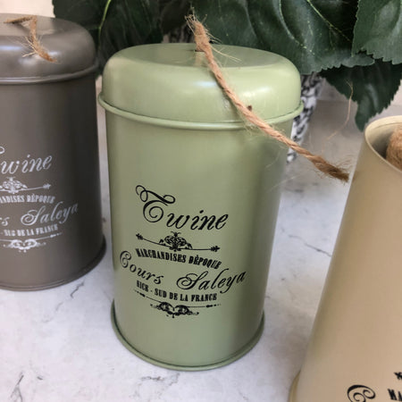 Garden twine in tin sage green