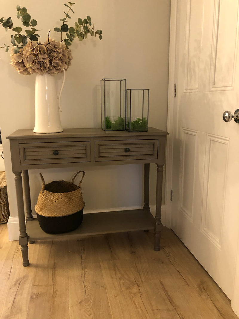 Store seconds taupe console table with shelf