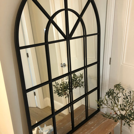Black arched metal window mirror 135cm by 90cm