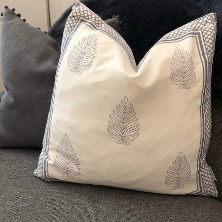 Cream cushion with Grey border and leaf design