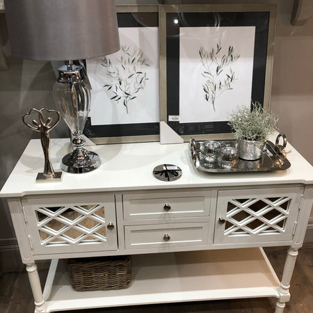 White mirrored large console dresser