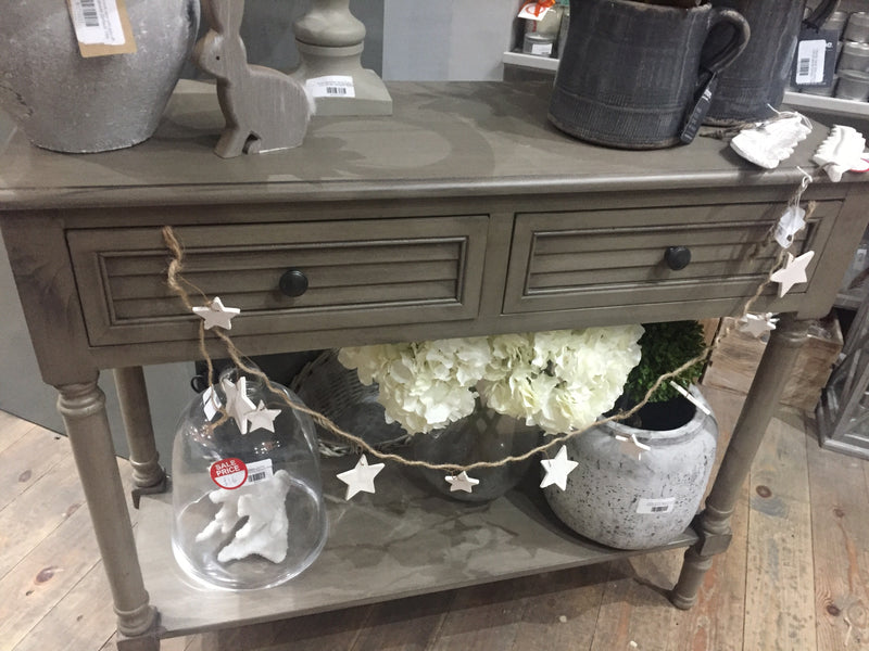 Taupe two drawer console