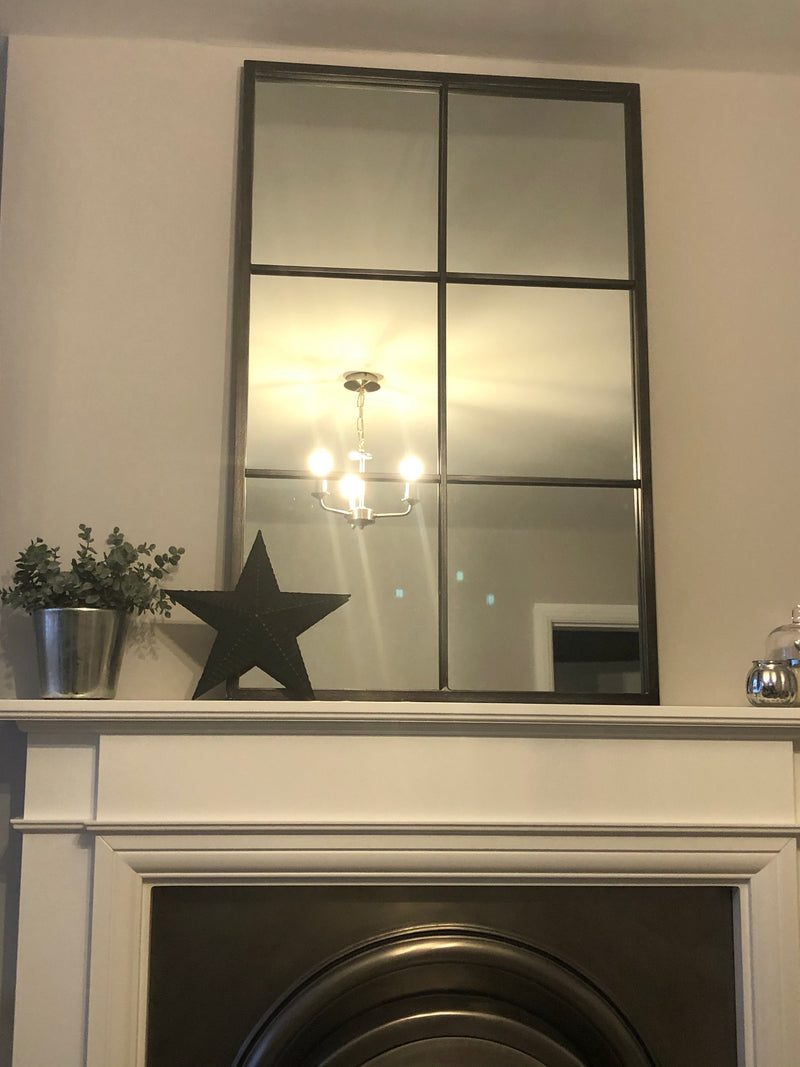 Oblong distressed black 6 section metal window mirror