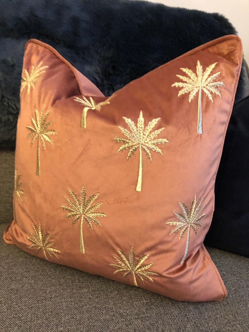 Pink and Gold palm cushion