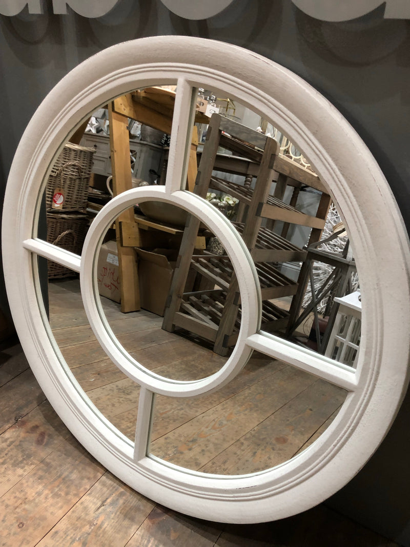 Off white round window mirror 70cm