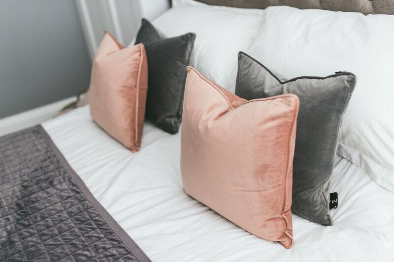 Grey Velvet Piped Cushion