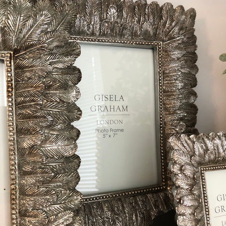 5x7 Antique Silver pewter Feather Frame