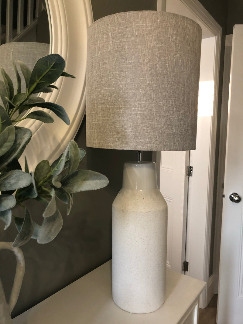 White ceramic tall lamp with grey shade