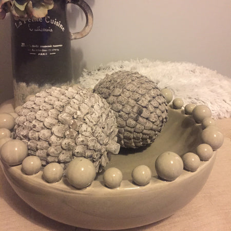Cream Ceramic Bobble Bowl