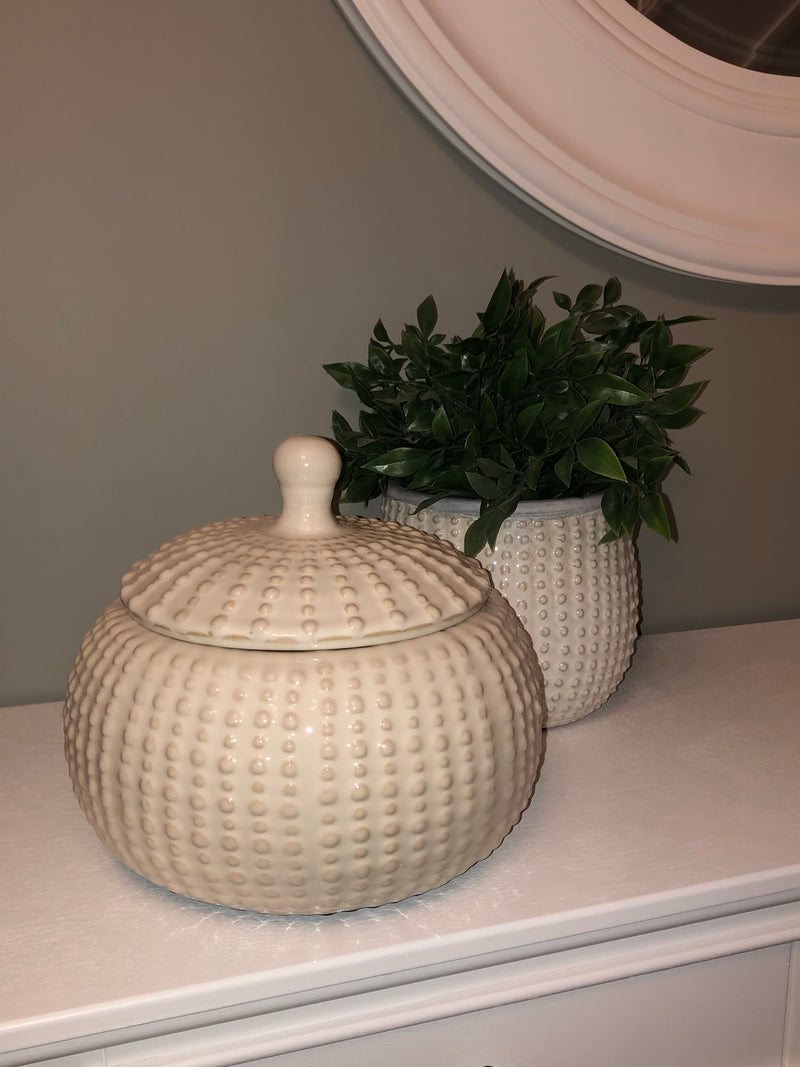 Off white ceramic lidded bobble jar
