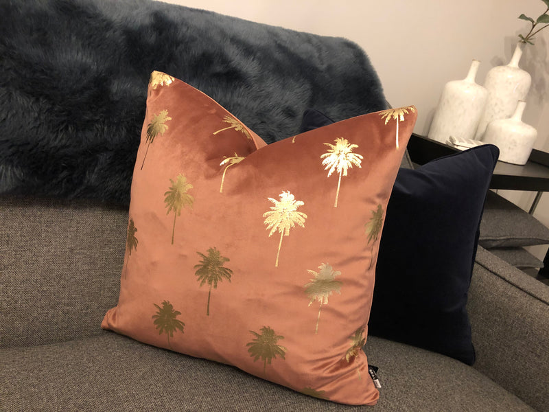 Rose pink and gold palm tree cushion 46cm