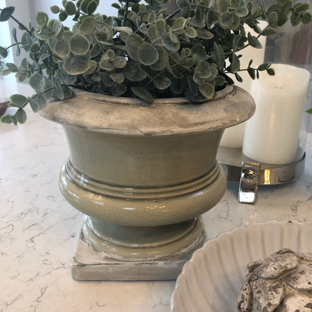 Pale green/grey urn vase planter