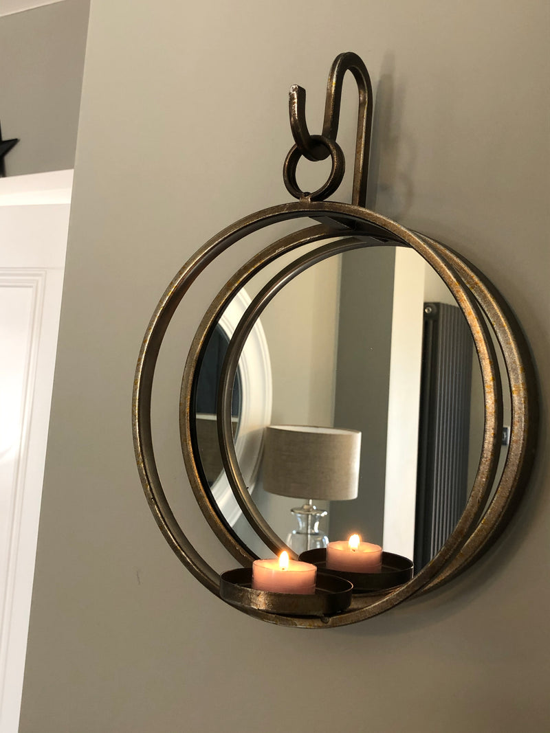 Large gold bronze wall hanging mirrored candle holder