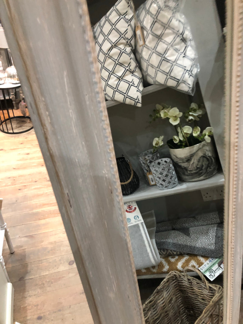 Distressed pale grey mirror on stand