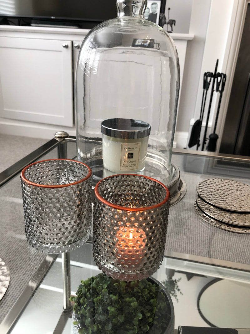 Smokey grey candle holder assorted