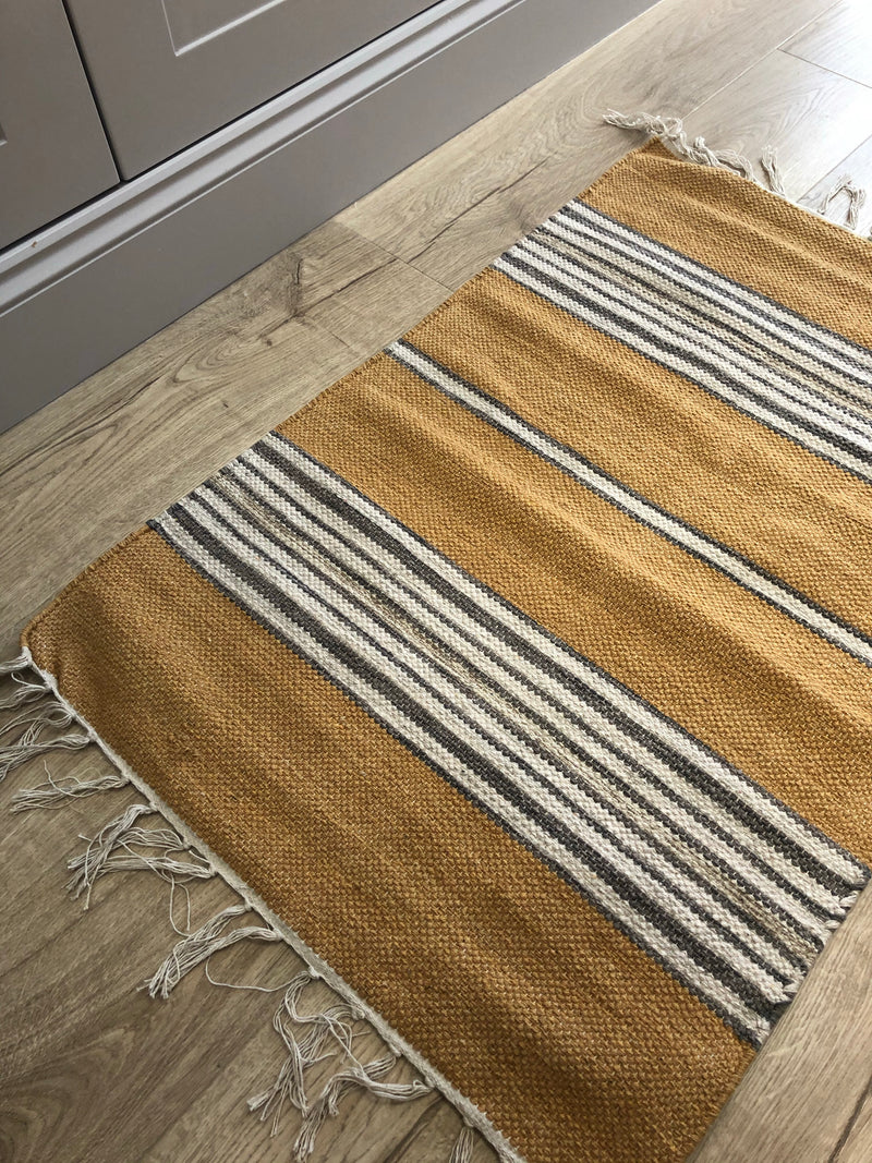 Ochre and grey stripe rug 90x60