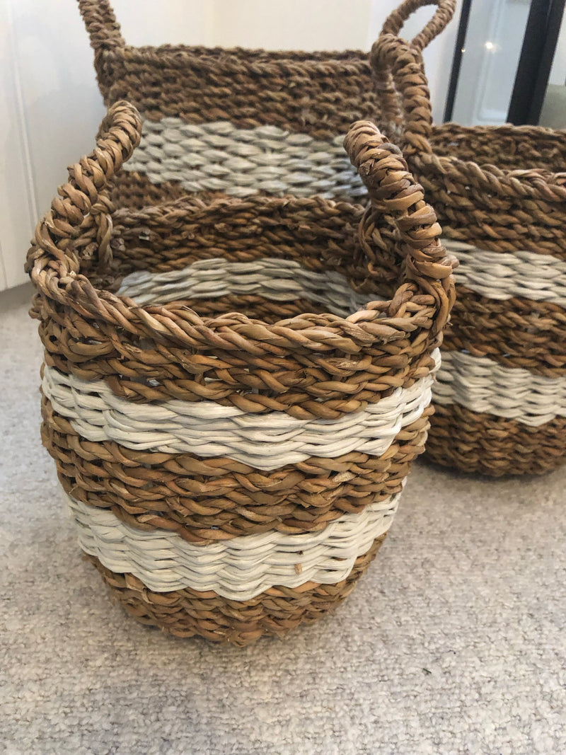 Medium round stripe basket