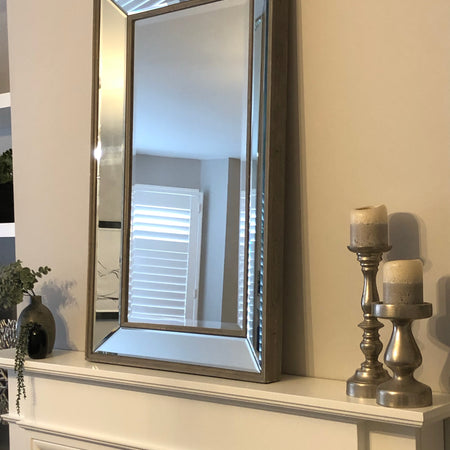 Grey washed Venetian rectangle mirror 100cm x 61cm