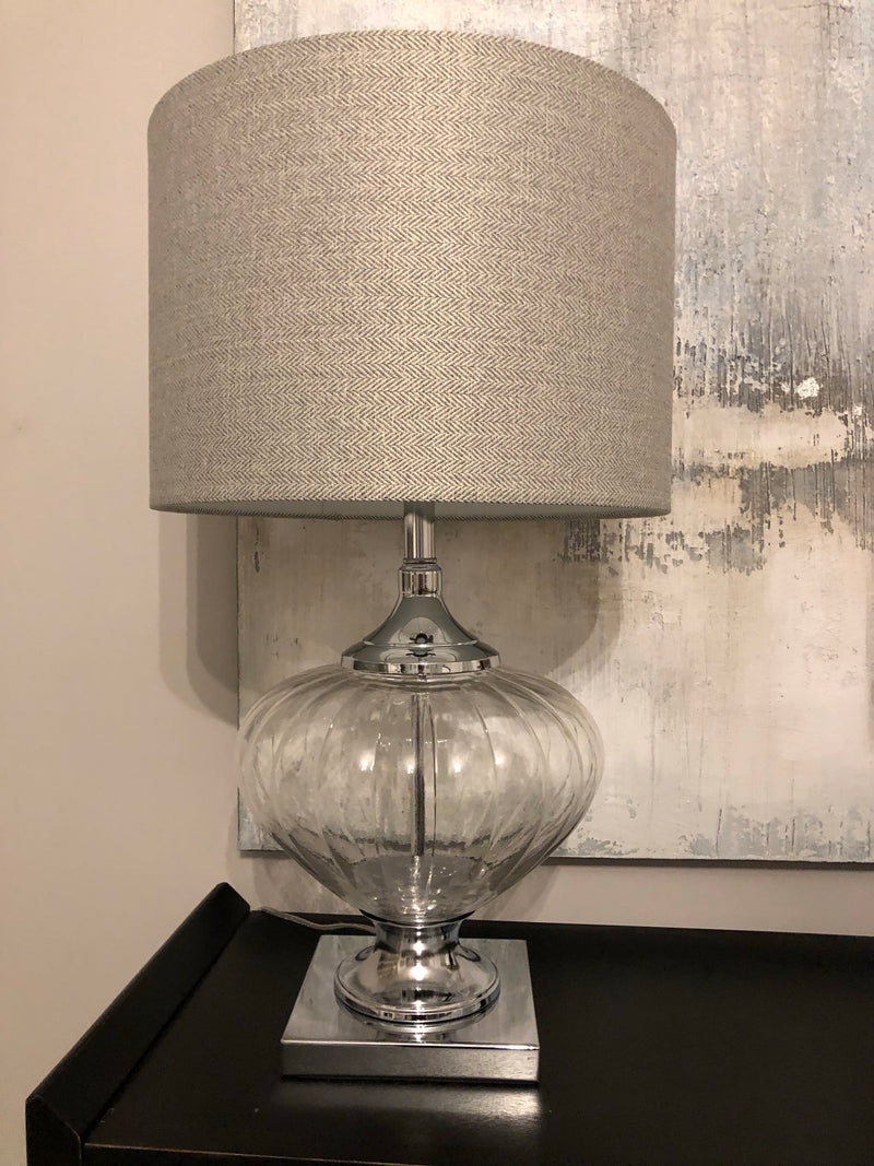 Bulbous Verona glass chunky lamp with shade