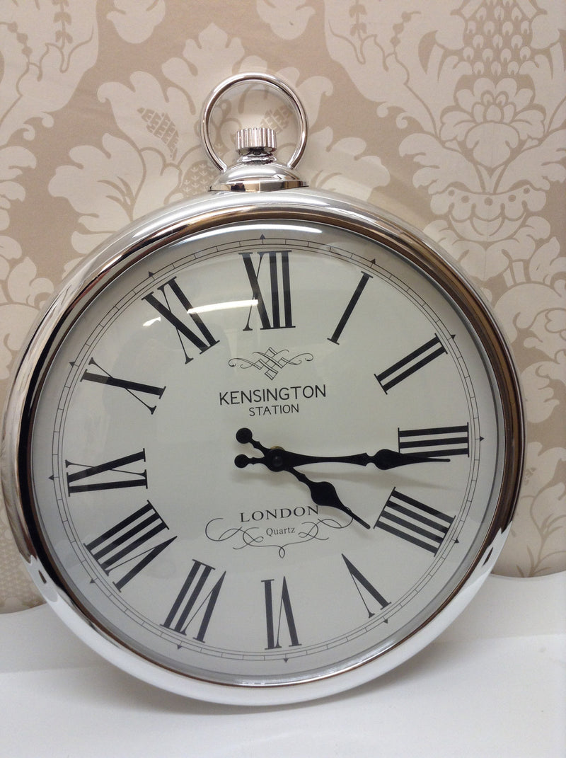 Silver pocket watch kensington clock