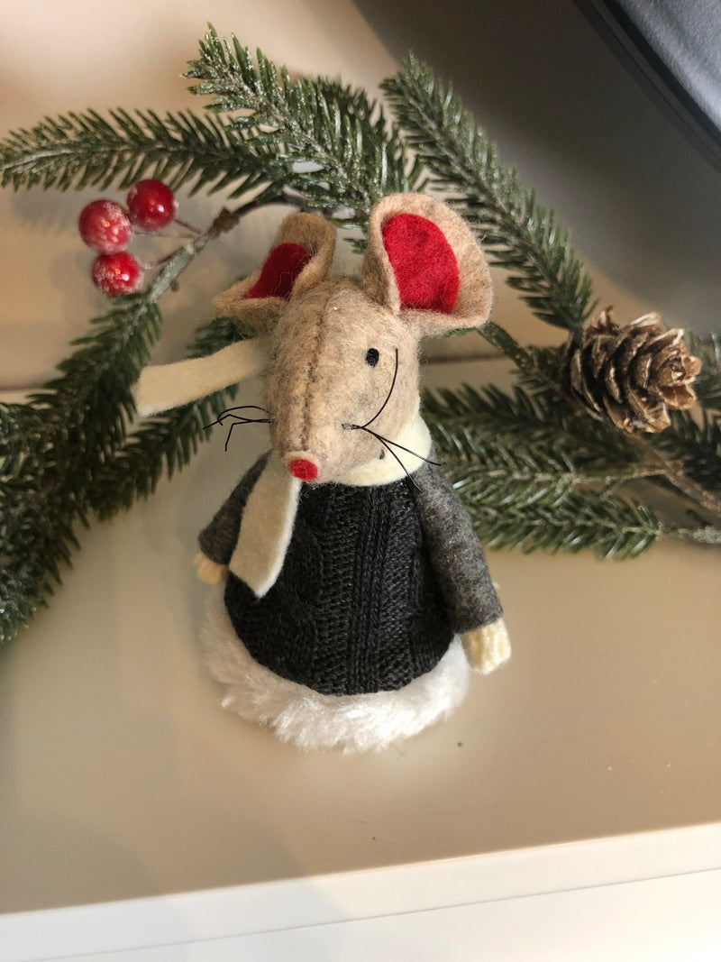 Christmas winter mouse in knitted dress