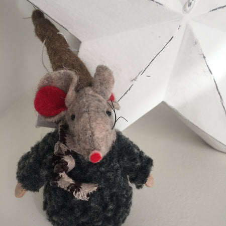 Grey fluffy hanging festive mouse