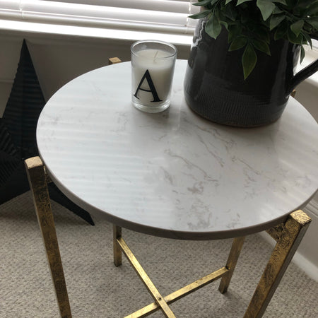 Marble topped gold table
