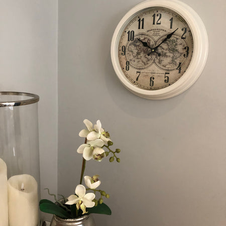 Cream Map Clock 40cm