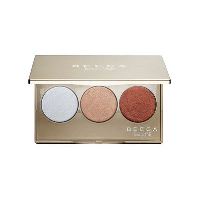 Becca Shimmering Skin Perfector Pressed Champagne Glow Palette featuring Champagne Pop Jaclyn Hill - Glammua
