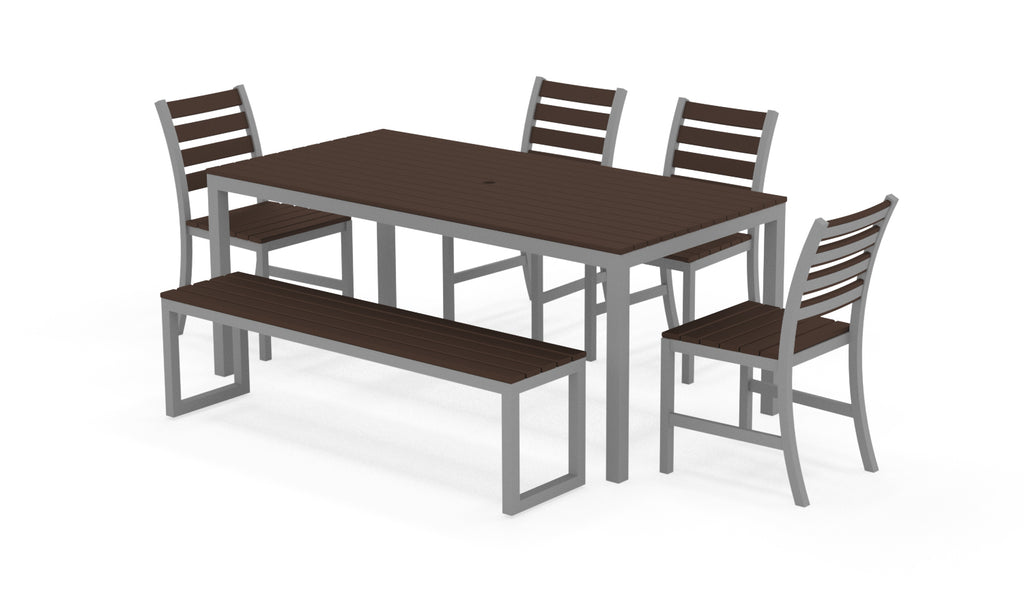 "Elan Furniture Loft Outdoor 72"" Rectangular 6 Piece Dining Set"