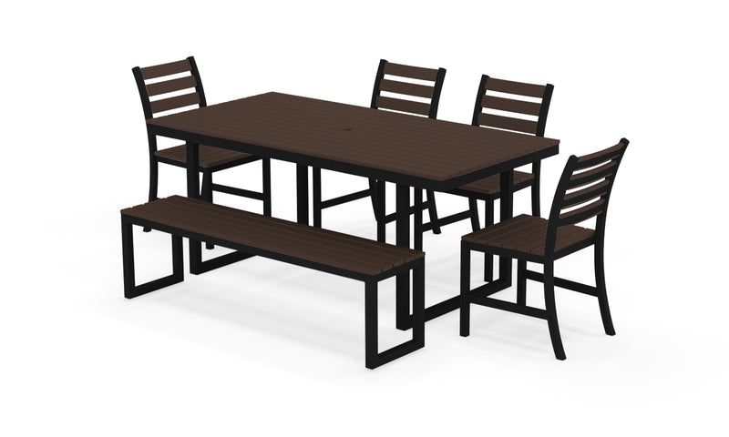 "Elan Furniture Kinzie Outdoor 72"" Rectangular 6 Piece Bench Dining Set"