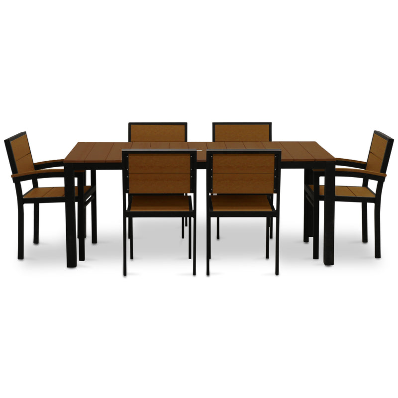 "72"" Rectangular 7 Piece Dining Set - Black with Antique Mahogany"