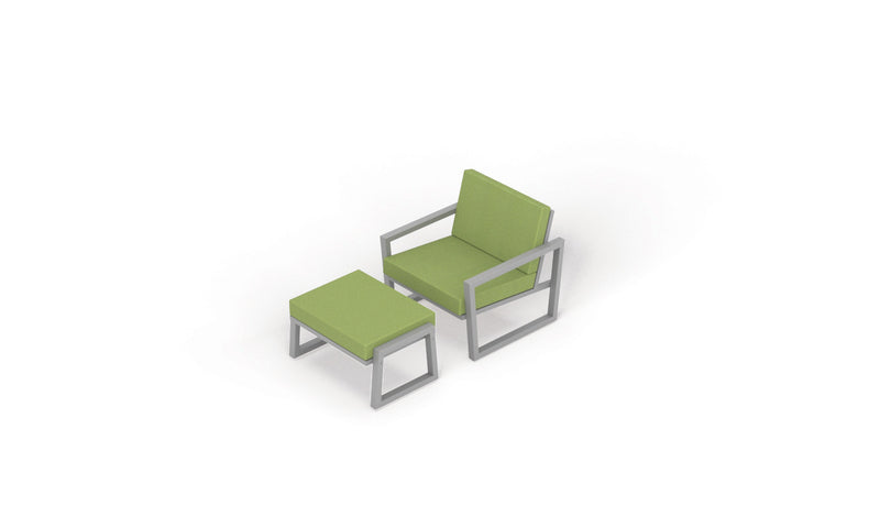 Vero Outdoor Modern Lounge Chair and Ottoman Set