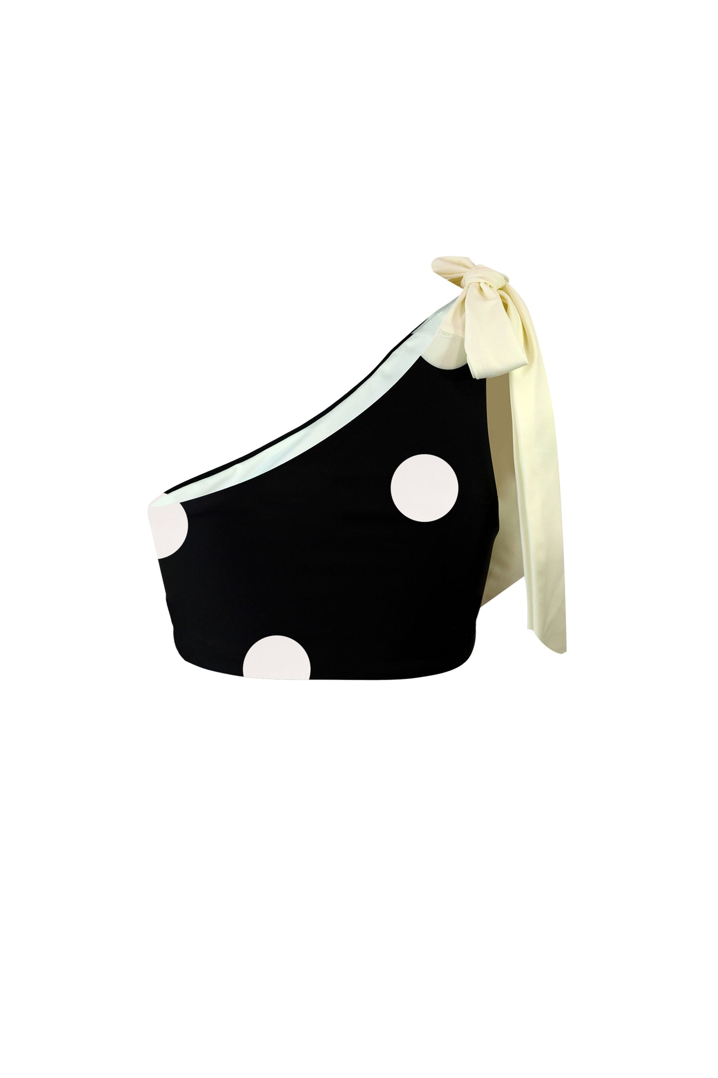 The Lady Tie Top (Black Cream Polka Dot)