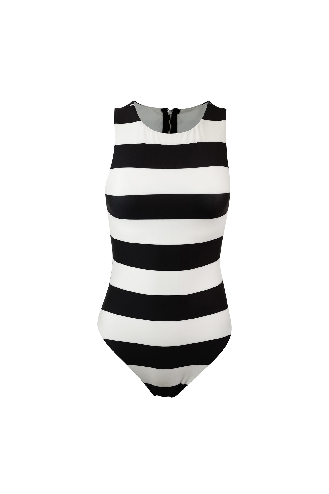 The Lady One Piece (Black Cream Stripe)