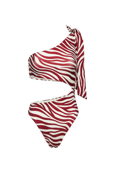 Cut Out One Piece (Zebra Maroon)