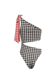 Cut Out One Piece (Black Houndstooth/Red Houndstooth Tie)