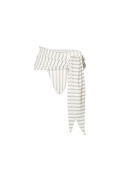 The Lady High Rise Sarong (Cream Pinstripe)