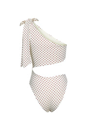 Cut Out One Piece (Cream Maroon Polka Dot)