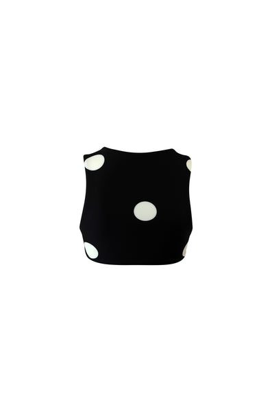 The Lady Crop Top (Black Cream Polka Dot)