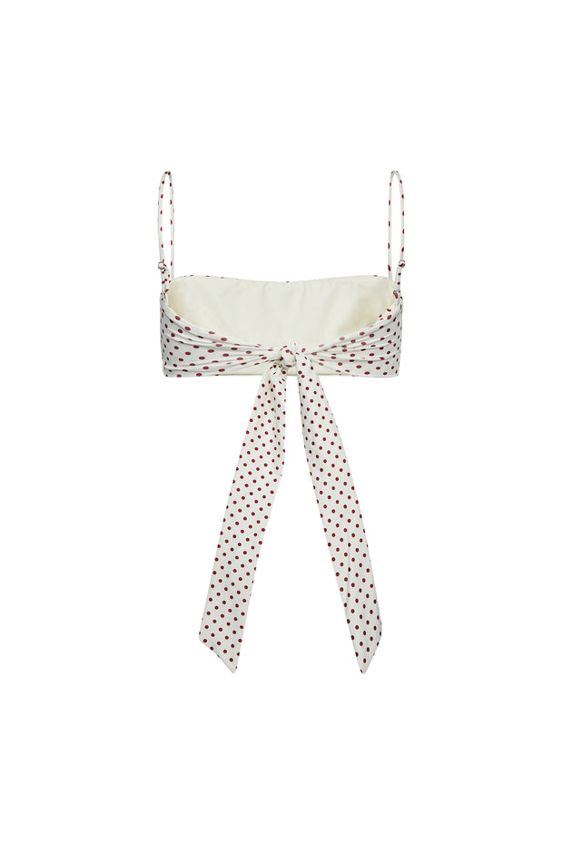 Bandeau Top  (Cream Maroon Polka Dot)