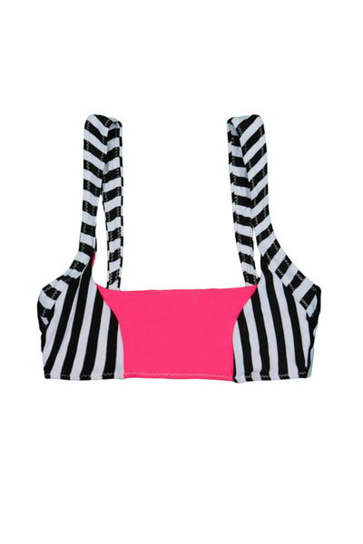 The Divine Top (Black White Stripe/Neon Pink)