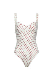 Bustier Suit (Cream Maroon Polka Dot)