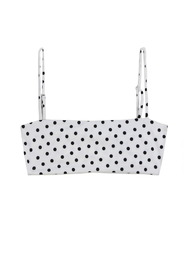 Bandeau Top  (White Black Polka Dot)