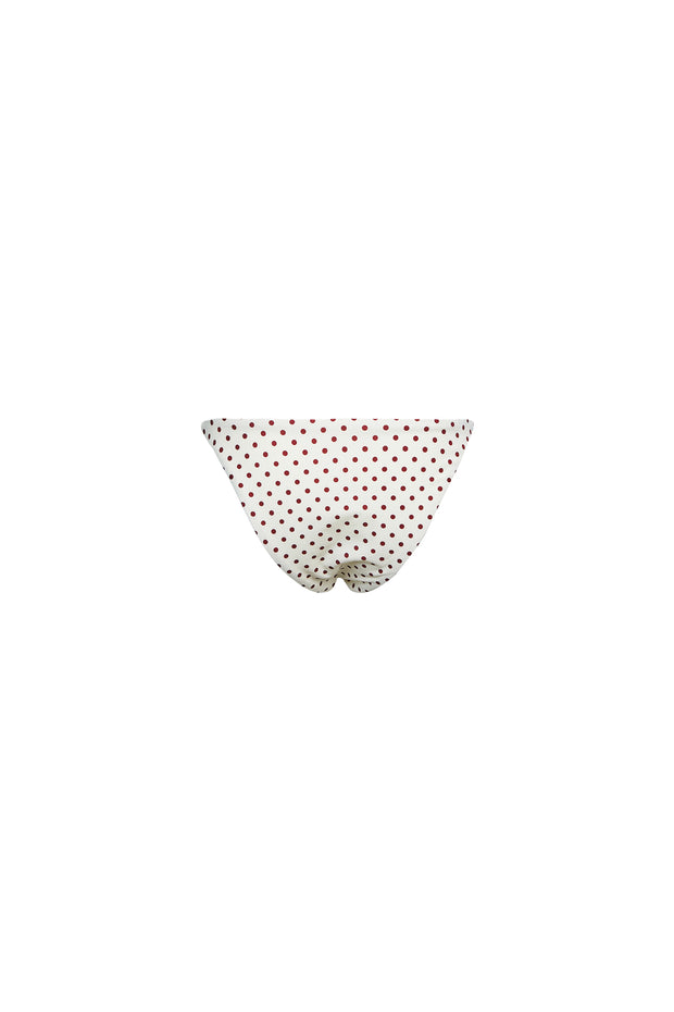 String Bottom (Cream Maroon Polka Dot)
