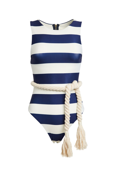 The Lady One Piece (Navy/Cream Stripe)