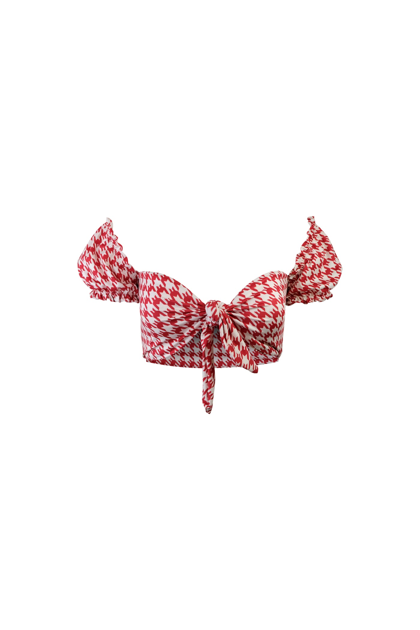 Ruffle Sleeve Top (Red Houndstooth)