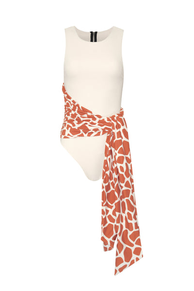 Bridgette One Piece (Ribbed Cream w Giraffe Tie)