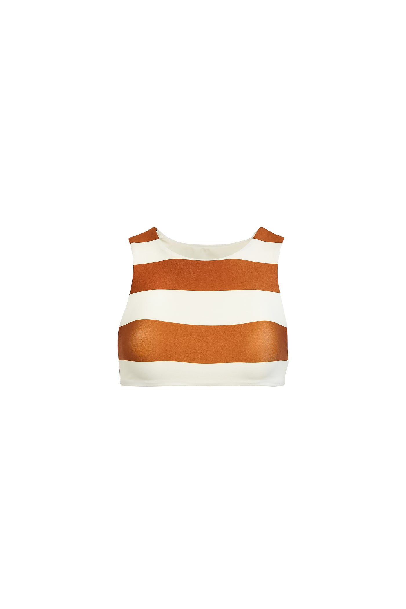 The Lady Crop Top (Cream Camel Stripe)